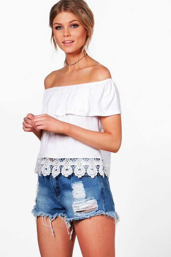 Petite Lorna Off The Shoulder Crochet Top