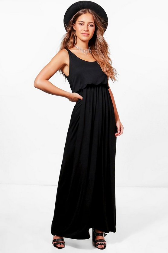Black Petite  Bagged Over Racer Back Maxi Dress