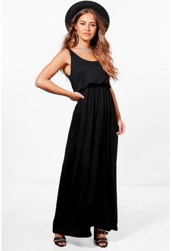 Womens Black Petite  Bagged Over Racer Back Maxi Dress
