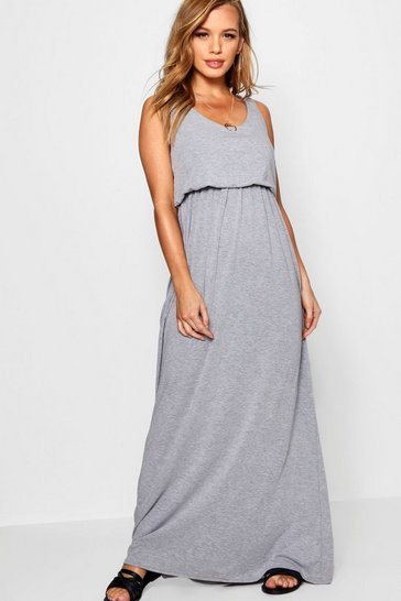 Grey marl Petite  Bagged Over Racer Back Maxi Dress