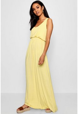 Womens Yellow Petite  Bagged Over Racer Back Maxi Dress