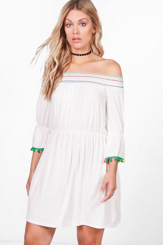 Plus Tara Embroidered Trim Swing Dress