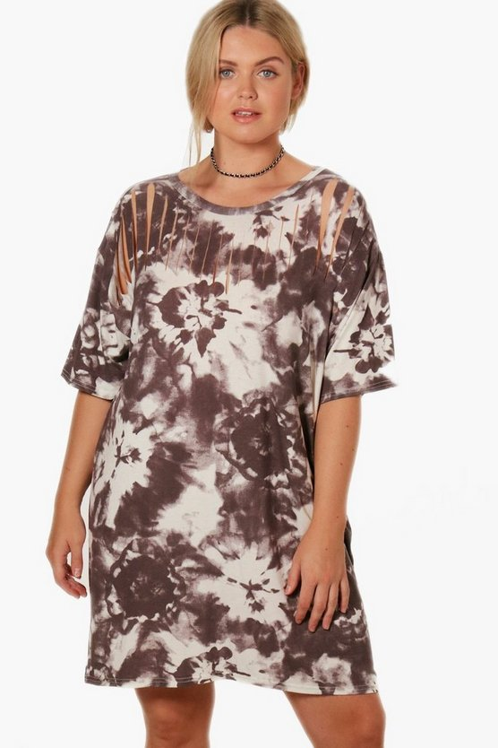 Plus Lucie Tie Dye Oversized T-Shirt Dress