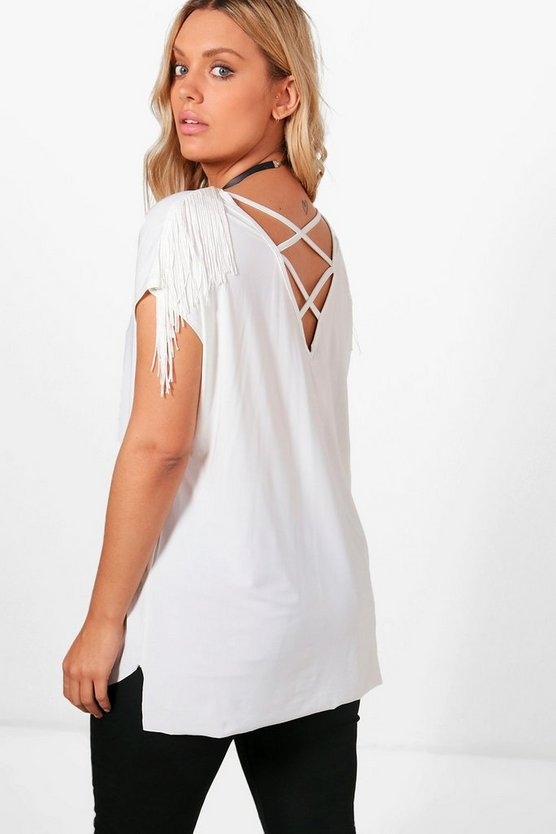 Plus Natalie Fringed Strappy Top