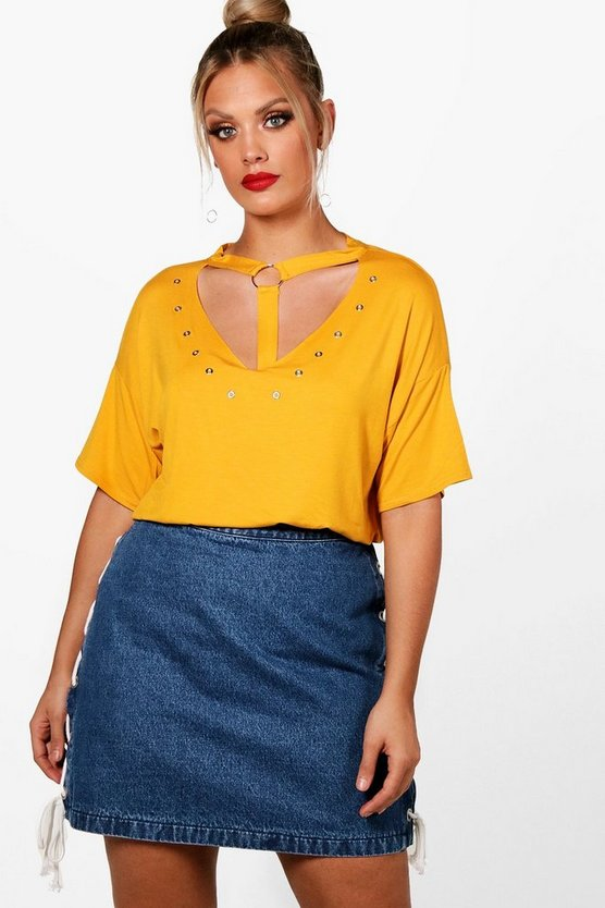 Plus Abby Eyelet Strap Detail T-Shirt
