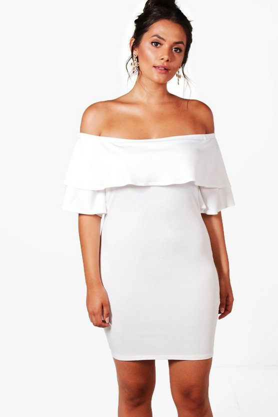 Plus Bella Off The Shoulder Frill Bodycon Dress