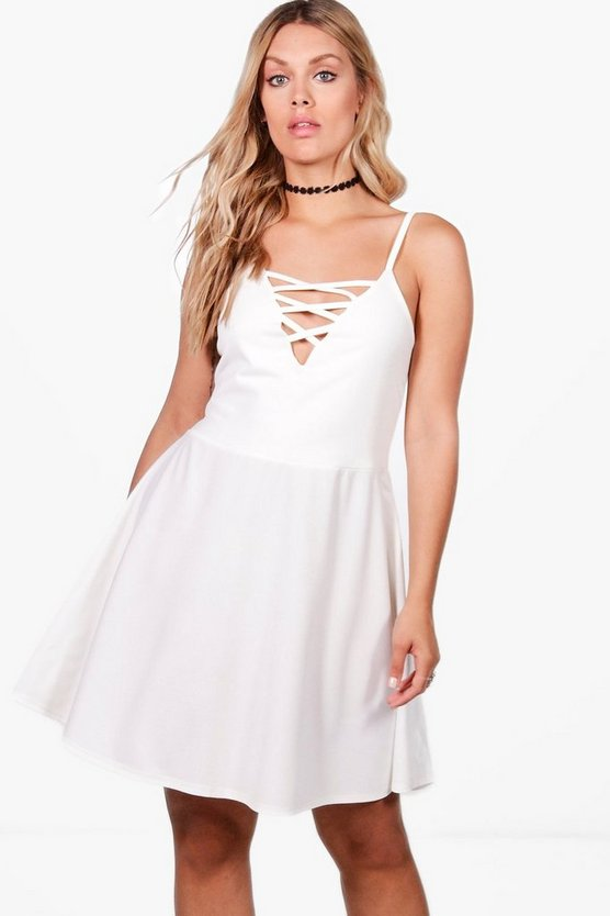 Plus Indea Lace Up Crepe Skater Dress