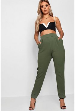 Womens Khaki Plus Formal Pleated Cuff Pants
