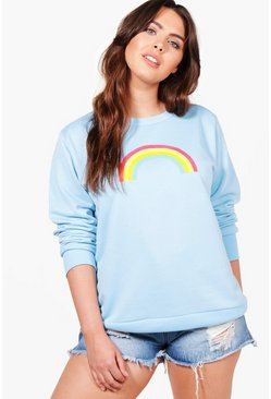 Plus Amelia Rainbow Print Oversized Sweat Top, Голубой, Женские
