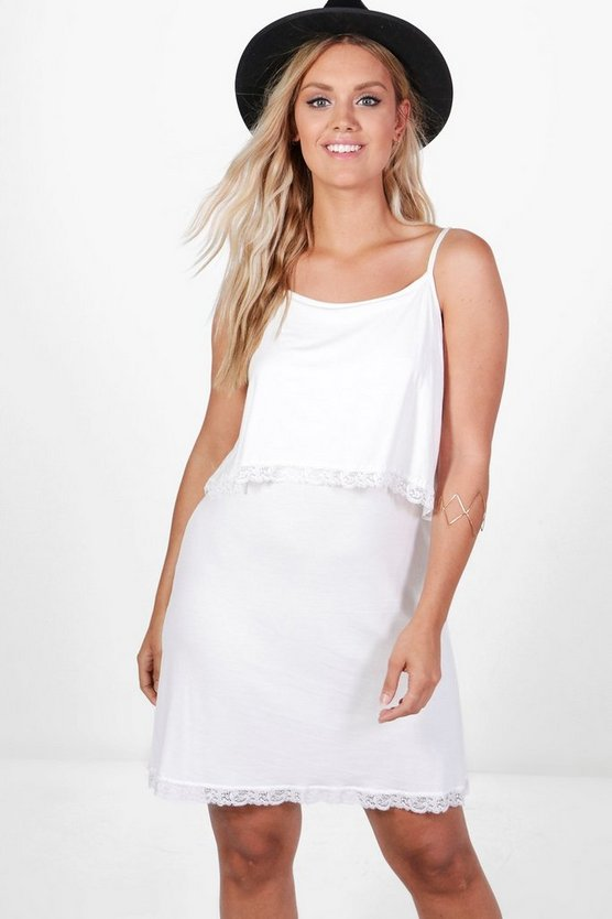 Plus Nadia Tiered Cami Dress With Lace Trim