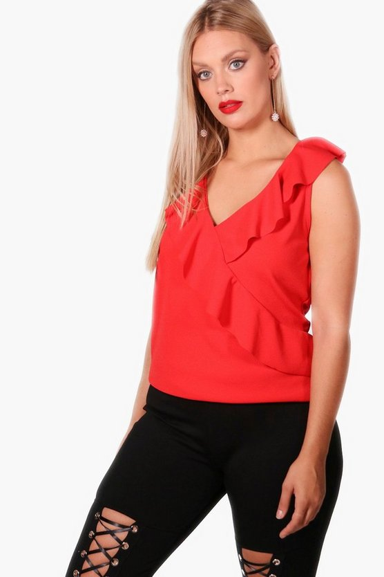 Plus Felicity Ruffle Wrap Top