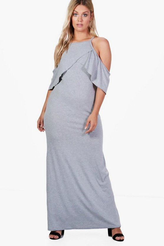 Womens Grey Plus Bianca Ruffle Halterneck Maxi Dress