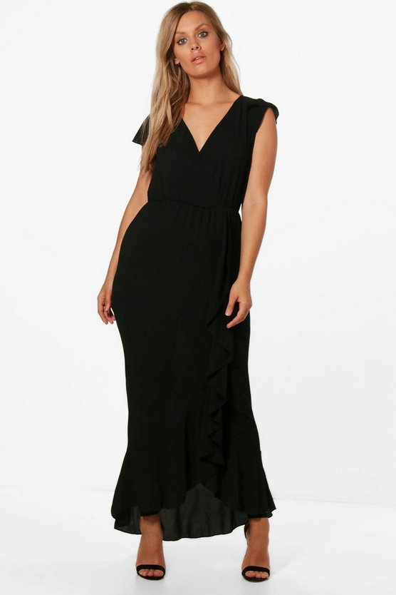 Womens Black Plus Claire Wrap Front Frill Maxi Dress