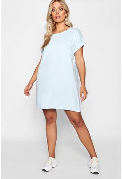 Womens Baby blue Plus Oversized Roll Up T-Shirt Dress