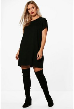 Womens Black Plus Oversized Roll Up T-Shirt Dress