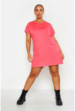 Womens Coral Plus Oversized Roll Up T-Shirt Dress