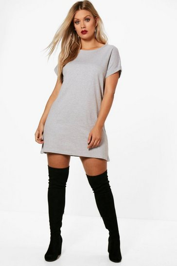 Grey Plus Oversized Roll Up T-Shirt Dress
