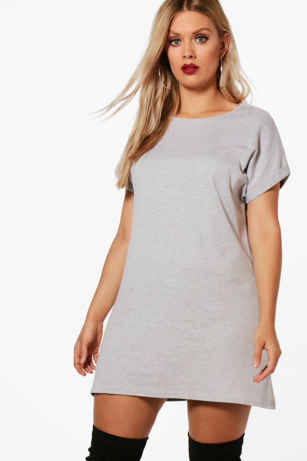 d45a2404e7 NEW Boohoo Womens Plus Oversized Roll Up T-Shirt Dress in Cotton