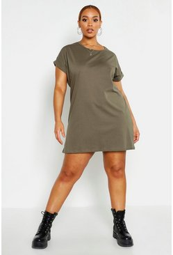 Womens Khaki Plus Oversized Roll Up T-Shirt Dress