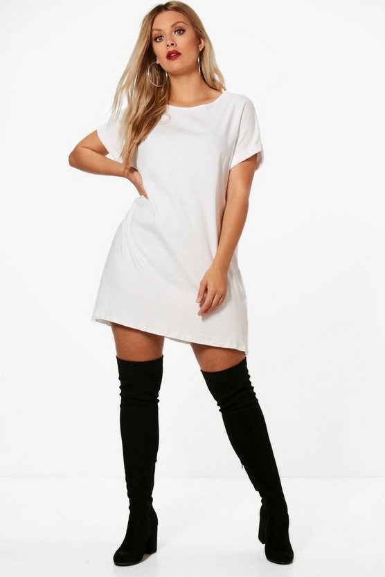 White Plus Oversized Roll Up T-Shirt Dress