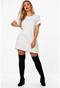 Womens White Plus Oversized Roll Up T-Shirt Dress