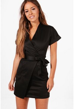 Womens Black Petite Obie Tie Wrap Dress