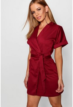 Womens Wine Petite  Obie Tie Wrap Dress