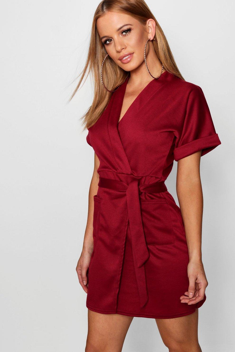 914017f9502ba Petite Obie Tie Wrap Dress | Boohoo