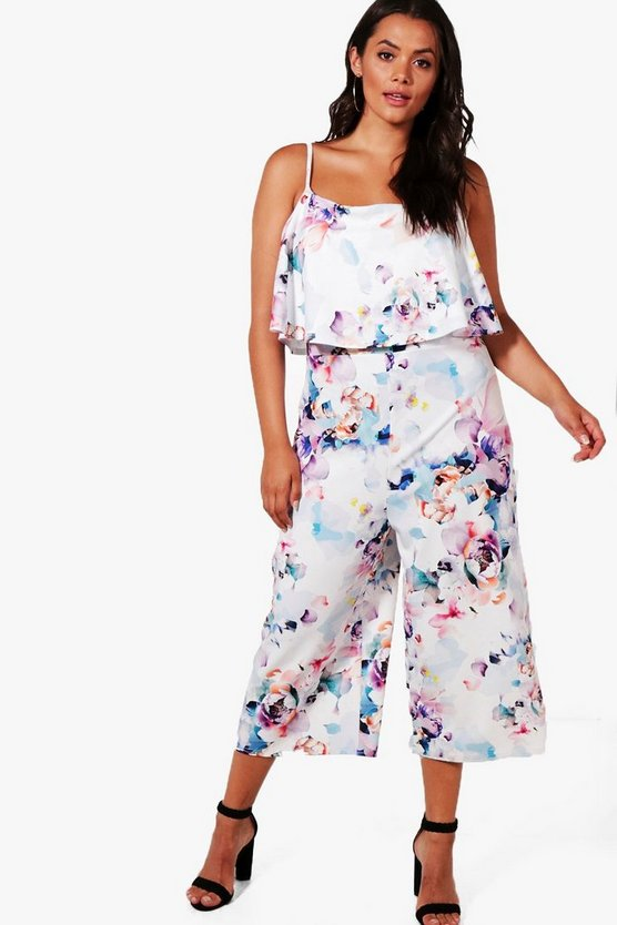 Plus Zoe Double Layer  Floral Culotte Jumpsuit