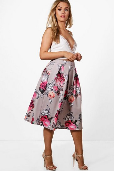 Womens Multi Plus  Floral Print Scuba Midi Skirt