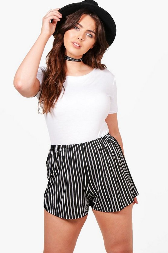 Womens Multi Plus Leah Stripe Jersey Shorts