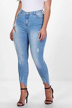 Plus Fray Detail Step Hem Skinny Jean