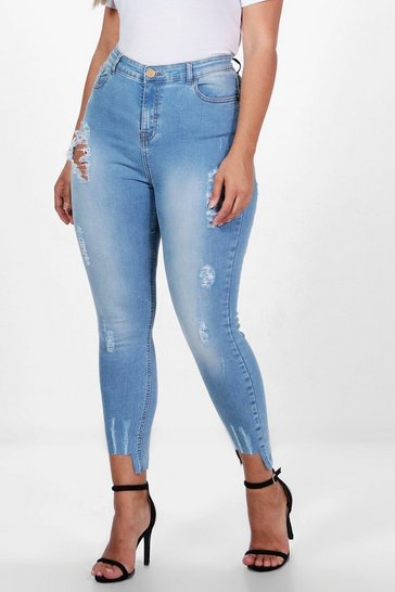 Womens Mid blue Plus Fray Detail Step Hem Skinny Jean