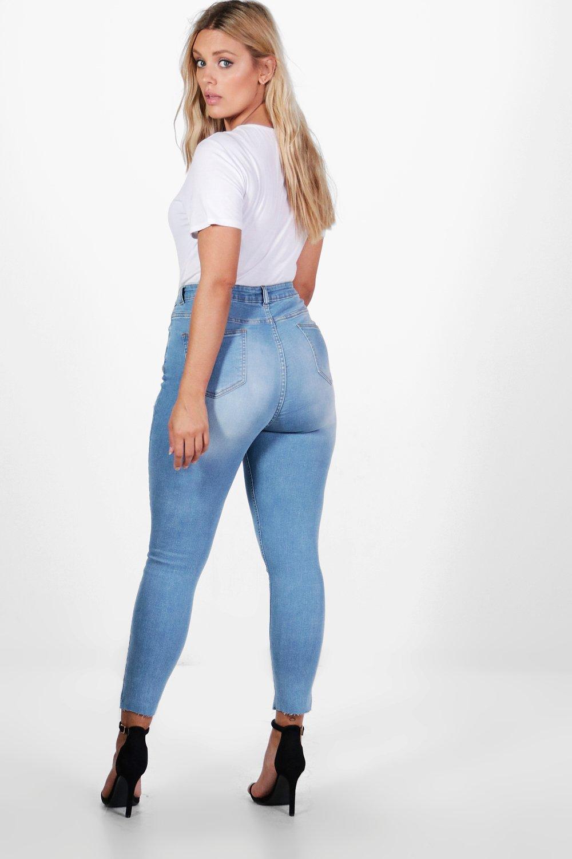 asimmetrico dettagli con skinny fondo Plus jeans sfilacciati e ZwIcv