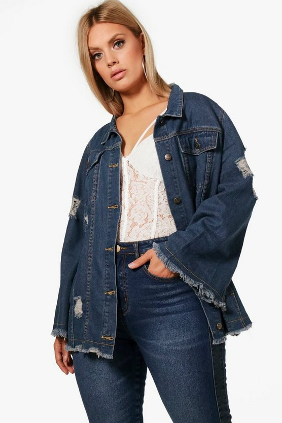 Plus Annie Fray Hem Denim Jacket