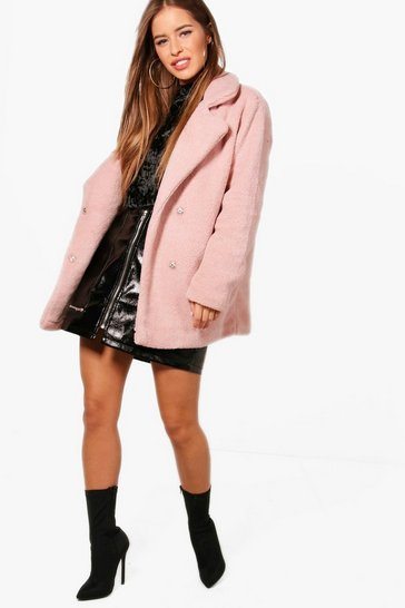Womens Antique rose Petite Double Breasted Teddy Coat