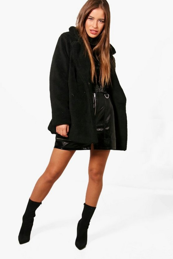 Petite  Double Breasted Teddy Coat, Black, Donna