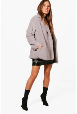 Womens Grey Petite Double Breasted Teddy Coat