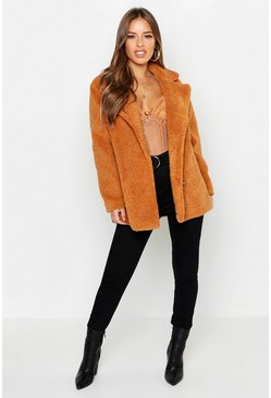 Petite Double Breasted Teddy Coat, Tan, Donna