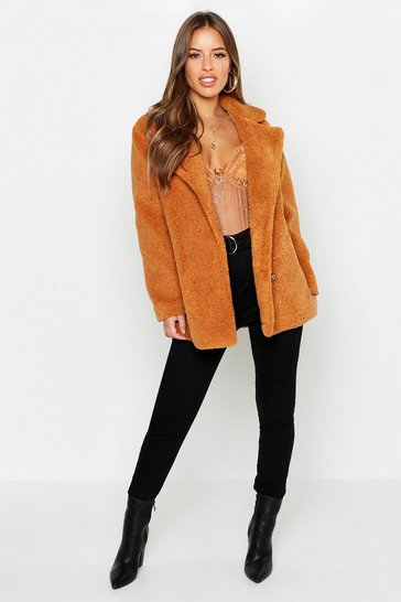 Womens Tan Petite Double Breasted Teddy Coat