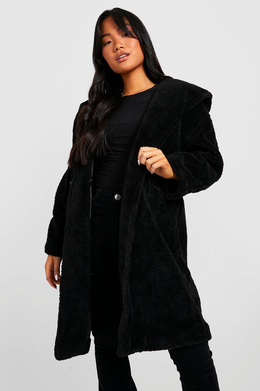 boohoo Womens Petite Oversized Hooded Teddy Coat - Black - 8, Black,Beige,Grey