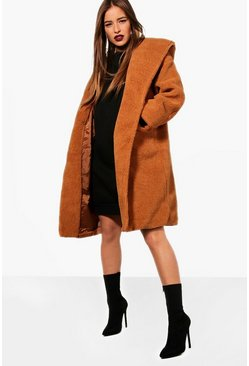 Womens Camel Petite Oversized Hooded Teddy Coat