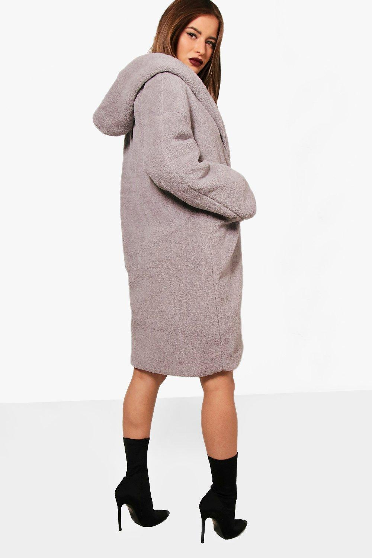 Hooded Teddy Coat Oversized Petite grey 8UwvT5