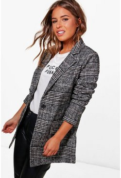 Womens Black Petite  Check Coat