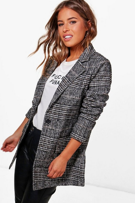 Petite Check Coat, Black, Donna