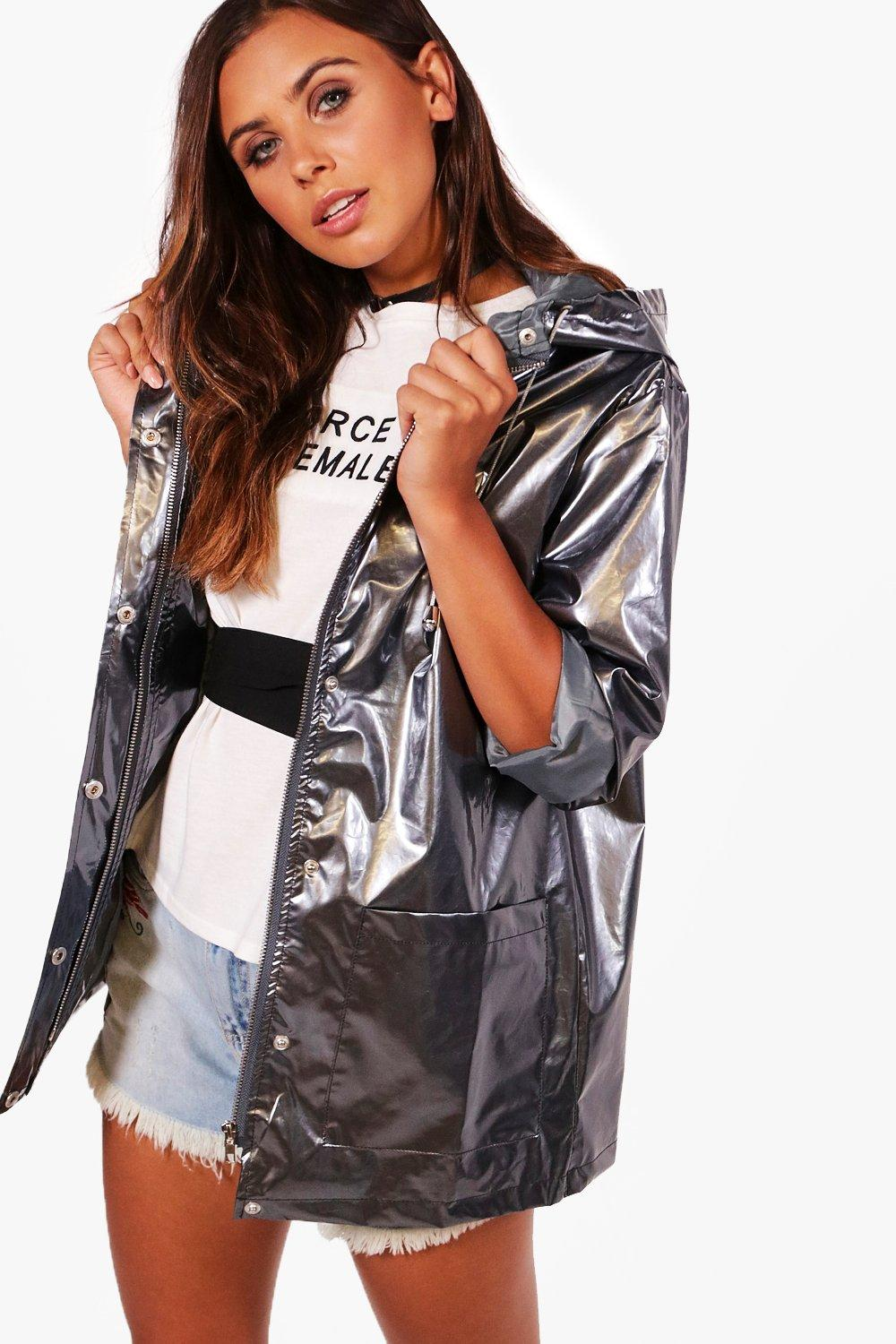 great fit shop for official super popular Petite Metallic Rain Coat | Boohoo