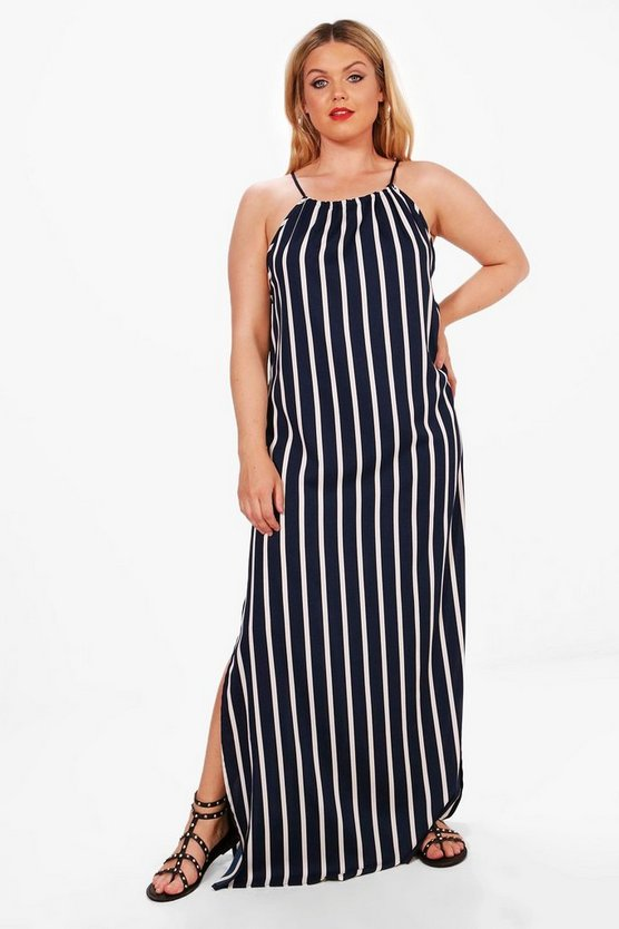 Womens Multi Plus Frankie Stripe Tie Front Maxi Dress