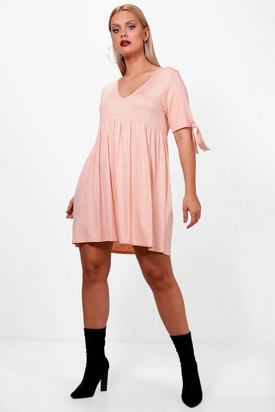 Plus Orla Tie Short Sleeve Smock Dress