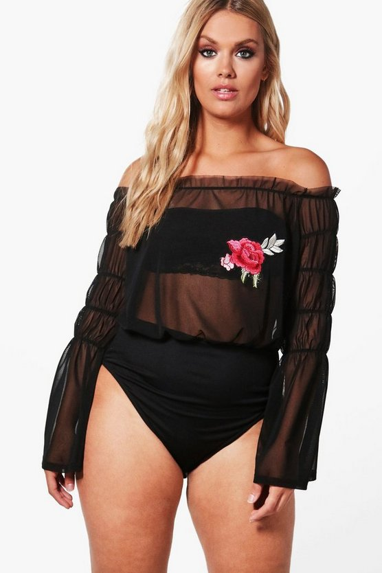 Plus Indea Embroidered Mesh Bodysuit