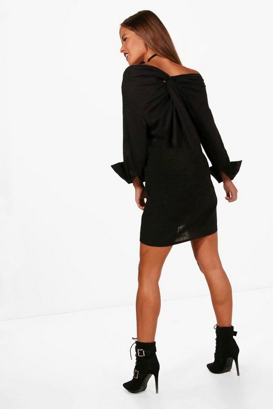 Petite Off The Shoulder Knot Back Shirt Dress